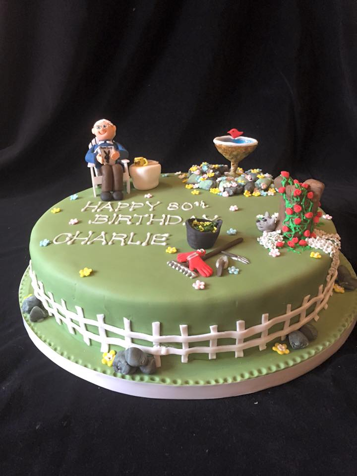 Garden cake for charlie 39 s 80th for Gardening 80th birthday cake